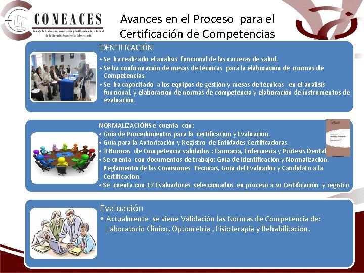 Avances en el Proceso para el Certificación de Competencias IDENTIFICACIÓN • Se ha realizado