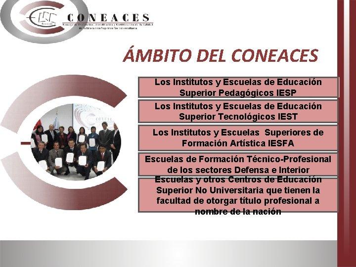 ÁMBITO DEL CONEACES. Los Institutos y Escuelas de Educación Superior Pedagógicos IESP Los Institutos