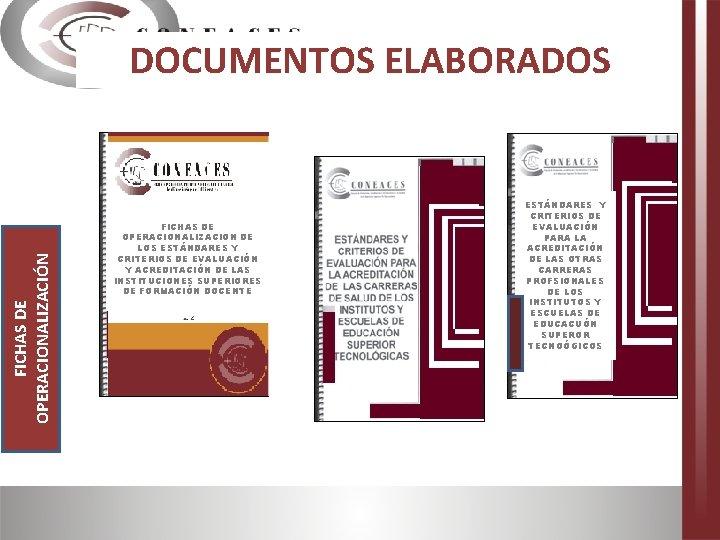 FICHAS DE OPERACIONALIZACIÓN DOCUMENTOS ELABORADOS FICHAS DE OPERACIONALIZACION DE LOS ESTÁNDARES Y CRITERIOS DE