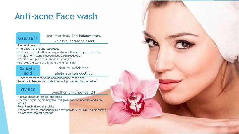 Anti-acne Face wash Gasolza TM Anti-microbial, Anti-inflammation, Biological anti-acne agent • A natural compound