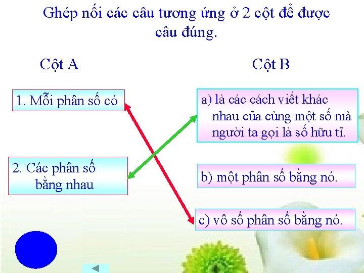 Ghép nối các câu tương ứng ở 2 cột để được câu đúng. Cột