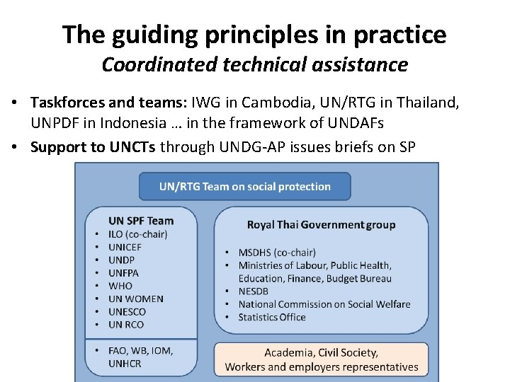 The guiding principles in practice Coordinated technical assistance • Taskforces and teams: IWG in