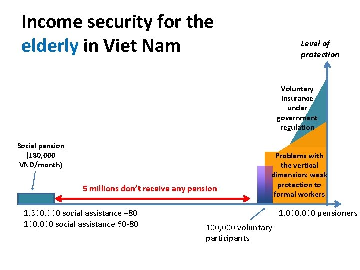 Income security for the elderly in Viet Nam Level of protection Voluntary insurance under