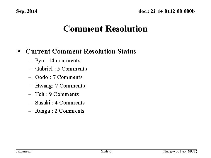 Sep. 2014 doc. : 22 -14 -0112 -00 -000 b Comment Resolution • Current