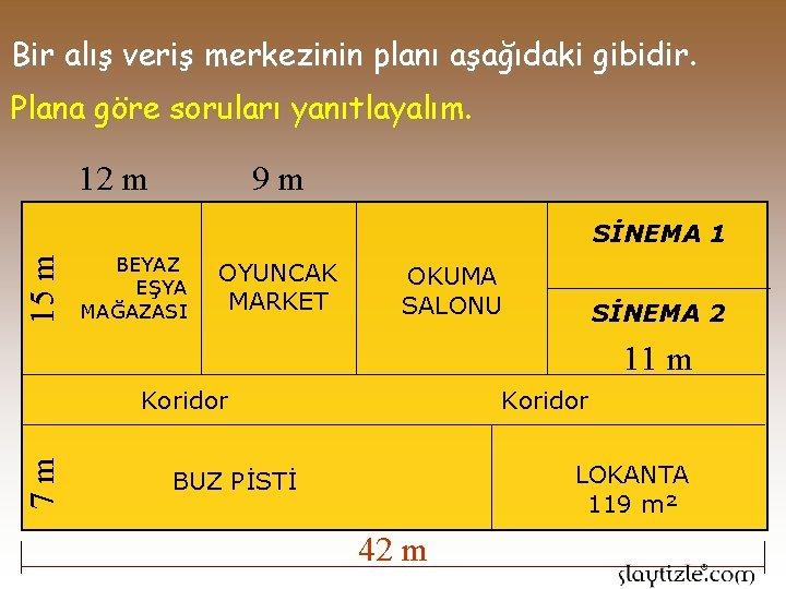 Bir alış veriş merkezinin planı aşağıdaki gibidir. Plana göre soruları yanıtlayalım. 9 m 12