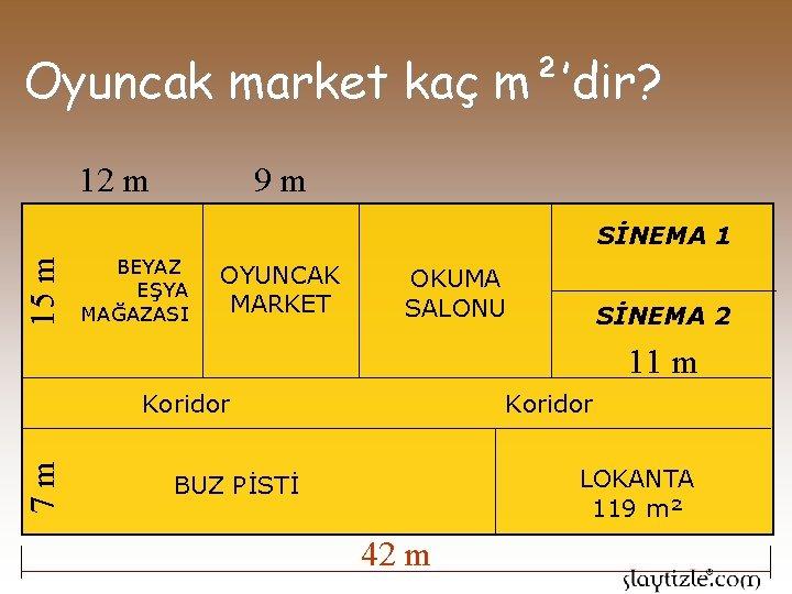 Oyuncak market kaç m²'dir? 9 m 12 m 15 m SİNEMA 1 BEYAZ EŞYA