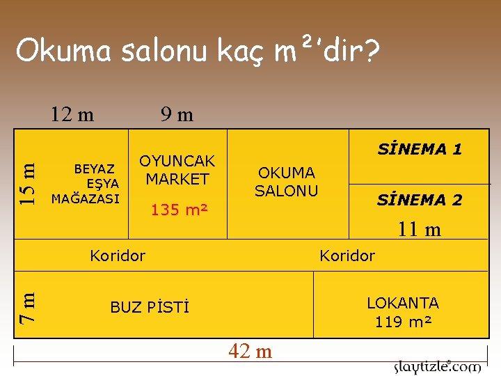 Okuma salonu kaç m²'dir? 9 m 15 m 12 m BEYAZ EŞYA MAĞAZASI OYUNCAK