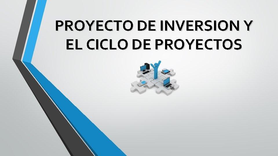 PROYECTO DE INVERSION Y EL CICLO DE PROYECTOS