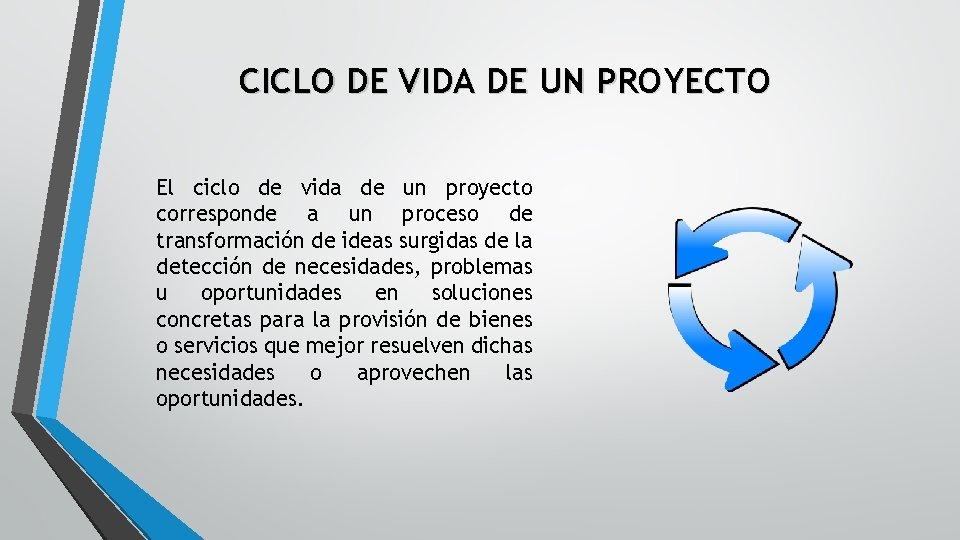 CICLO DE VIDA DE UN PROYECTO El ciclo de vida de un proyecto corresponde