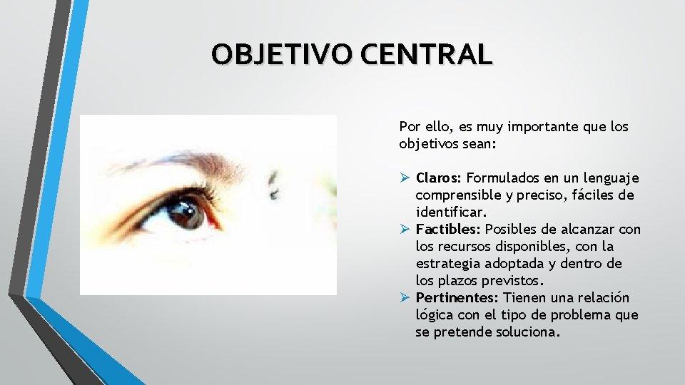 OBJETIVO CENTRAL Por ello, es muy importante que los objetivos sean: Ø Claros: Formulados