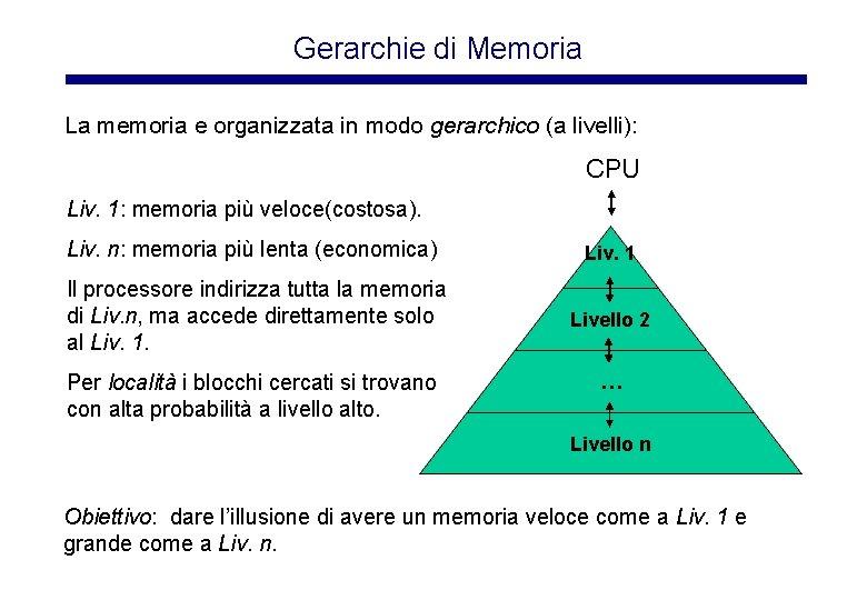 Gerarchie di Memoria La memoria e organizzata in modo gerarchico (a livelli): CPU Liv.