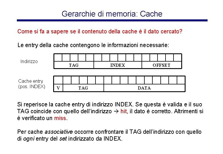 Gerarchie di memoria: Cache Come si fa a sapere se il contenuto della cache