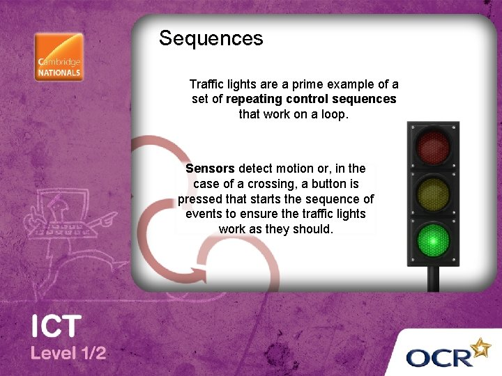 Sequences Traffic lights are a prime example of a set of repeating control sequences