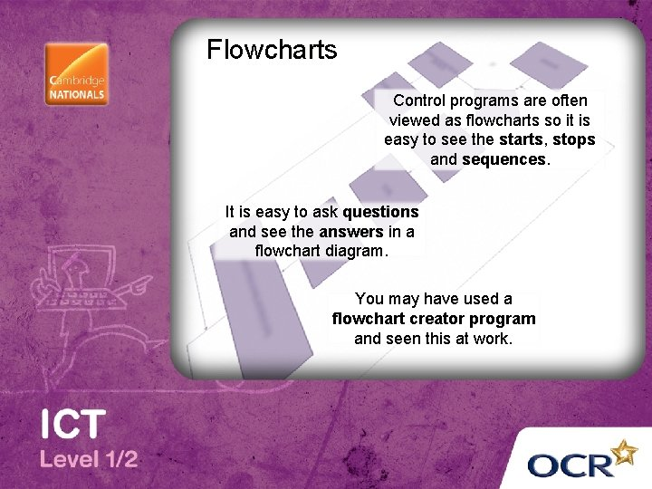 Flowcharts Control programs are often viewed as flowcharts so it is easy to see