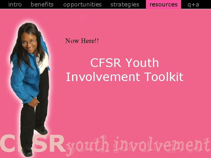 intro benefits opportunities strategies resources Now Here!! CFSR Youth Involvement Toolkit q+a