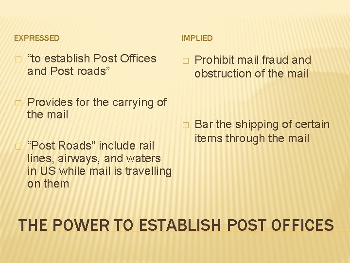 """EXPRESSED � """"to establish Post Offices and Post roads"""" � Provides for the carrying"""