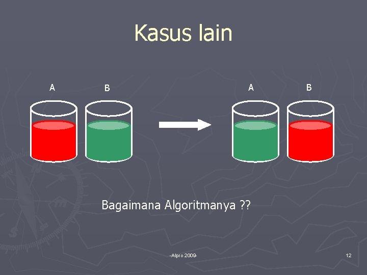 Kasus lain A A B B Bagaimana Algoritmanya ? ? -Alpro 2009 - 12