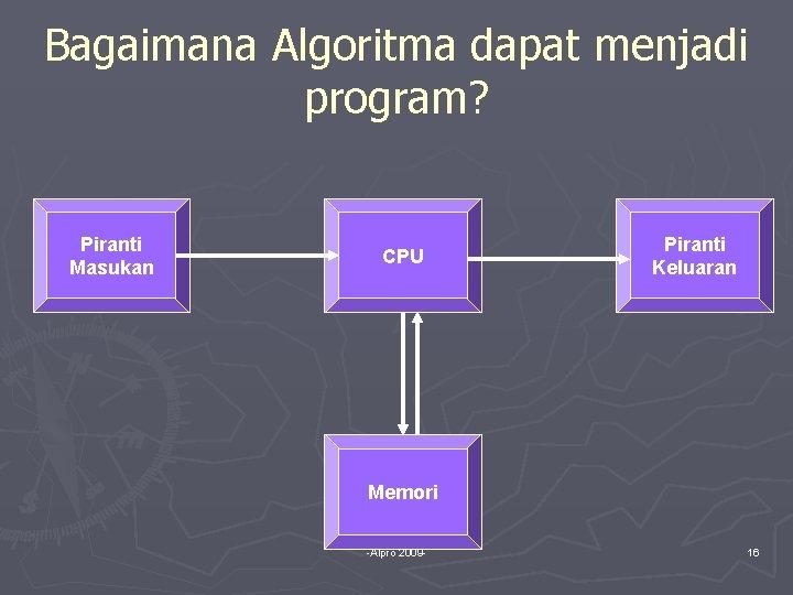 Bagaimana Algoritma dapat menjadi program? Piranti Masukan CPU Piranti Keluaran Memori -Alpro 2009 -
