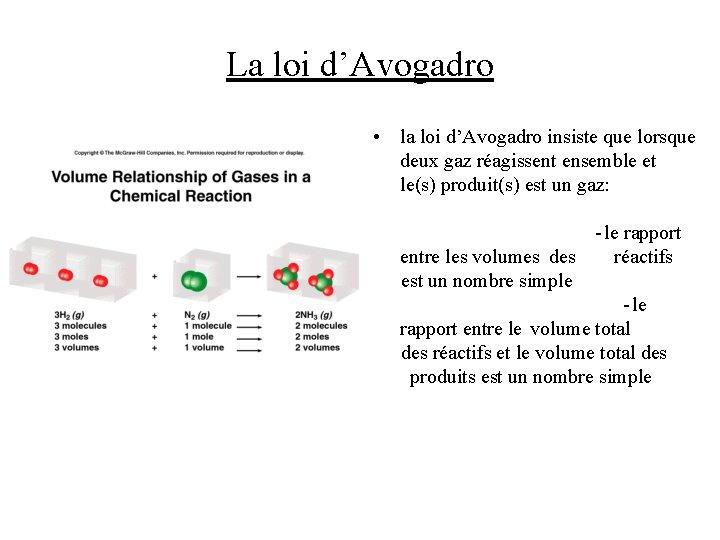 La loi d'Avogadro • la loi d'Avogadro insiste que lorsque deux gaz réagissent ensemble
