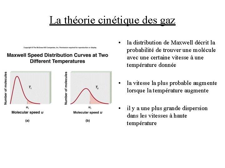 La théorie cinétique des gaz • la distribution de Maxwell décrit la probabilité de