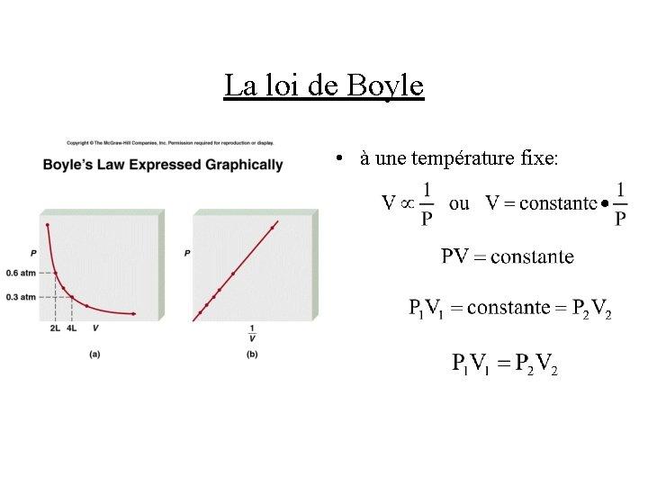 La loi de Boyle • à une température fixe: