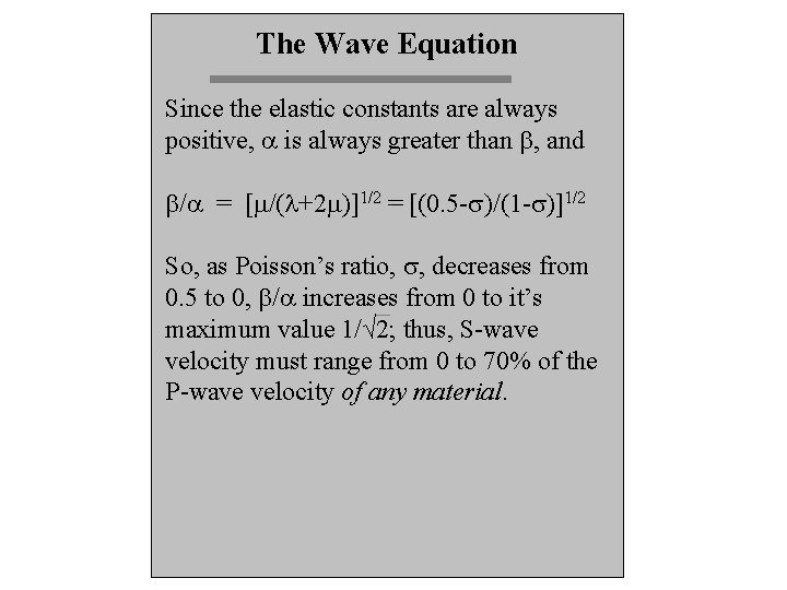 The Wave Equation Since the elastic constants are always positive, a is always greater