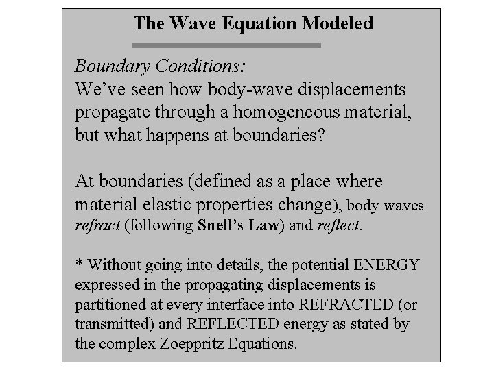 The Wave Equation Modeled Boundary Conditions: We've seen how body-wave displacements propagate through a