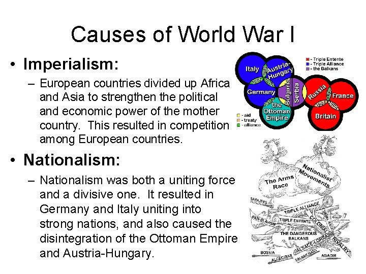 Causes of World War I • Imperialism: – European countries divided up Africa and
