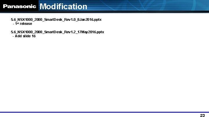 Modification 5. 6_NSX 1000_2000_Smart. Desk_Rev 1. 0_8 Jan 2016. pptx - 1 st release