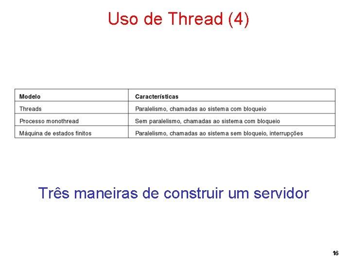 Uso de Thread (4) Três maneiras de construir um servidor 16