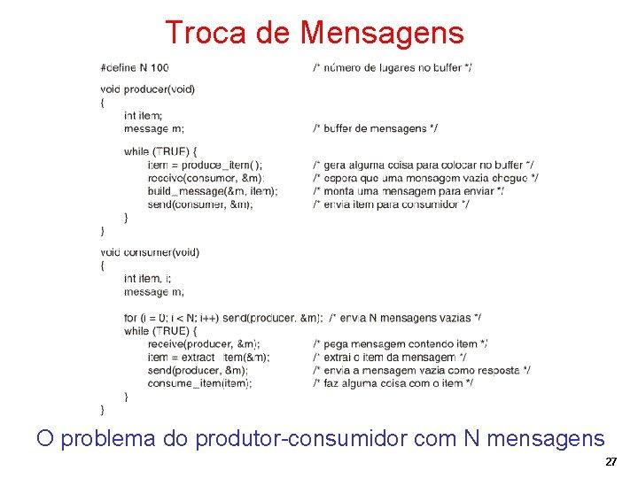 Troca de Mensagens O problema do produtor-consumidor com N mensagens 27