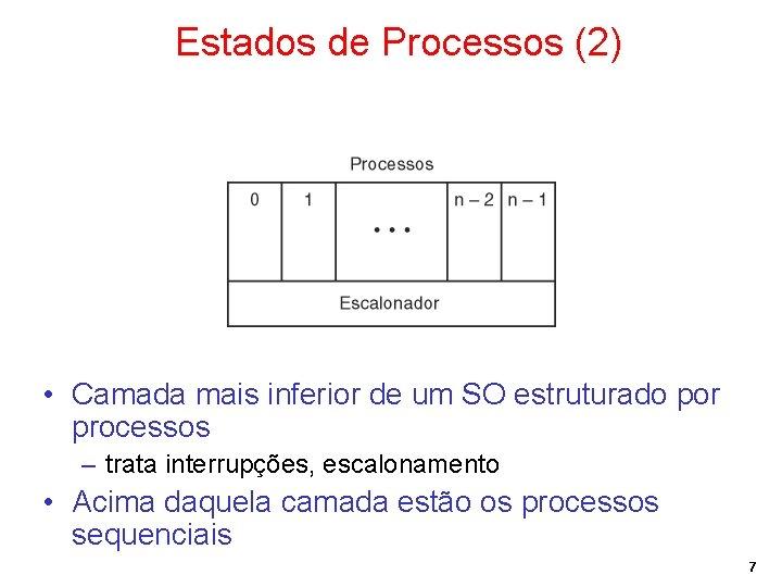Estados de Processos (2) • Camada mais inferior de um SO estruturado por processos