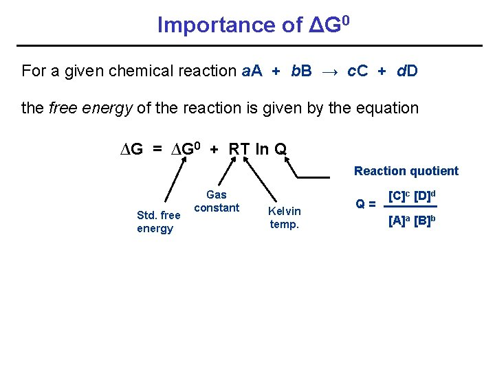 Importance of ΔG 0 For a given chemical reaction a. A + b. B