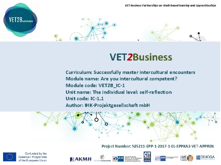 VET-Business Partnerships on Work-based learning and Apprenticeships VET 2 Business Curriculum: Successfully master intercultural