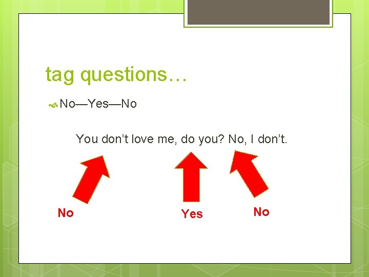 tag questions… No—Yes—No You don't love me, do you? No, I don't. No Yes