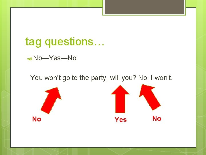 tag questions… No—Yes—No You won't go to the party, will you? No, I won't.
