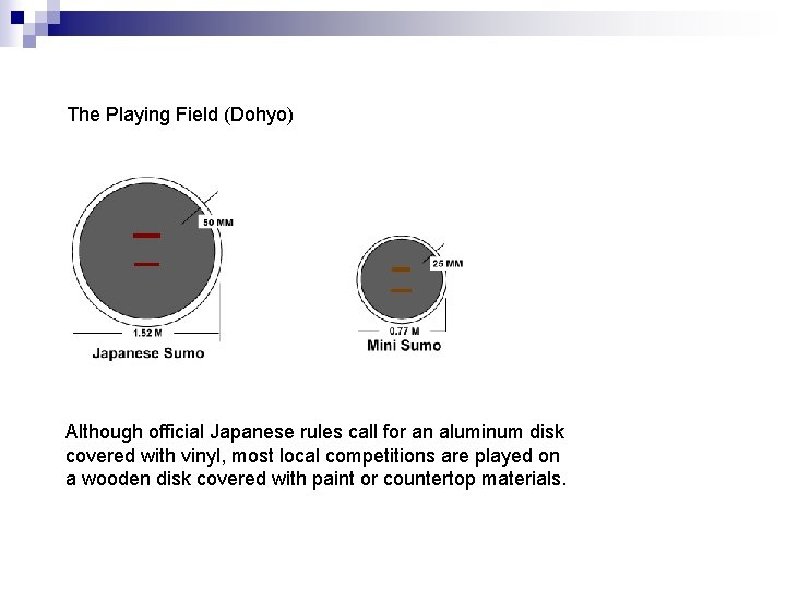 The Playing Field (Dohyo) Although official Japanese rules call for an aluminum disk covered
