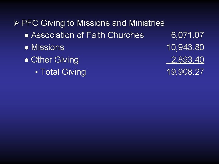 Ø PFC Giving to Missions and Ministries ● Association of Faith Churches 6, 071.