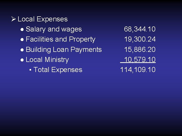 Ø Local Expenses ● Salary and wages ● Facilities and Property ● Building Loan