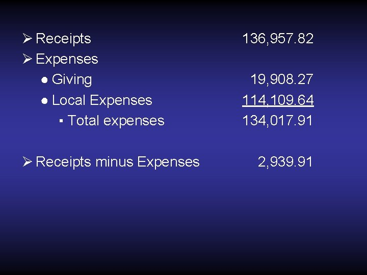 Ø Receipts Ø Expenses ● Giving ● Local Expenses ▪ Total expenses Ø Receipts