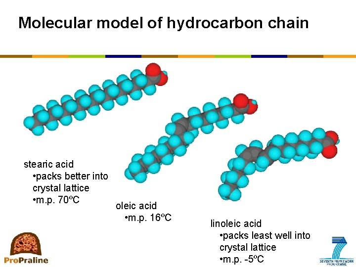 Molecular model of hydrocarbon chain stearic acid • packs better into crystal lattice •