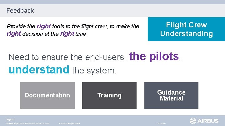 Feedback Provide the right tools to the flight crew, to make the right decision
