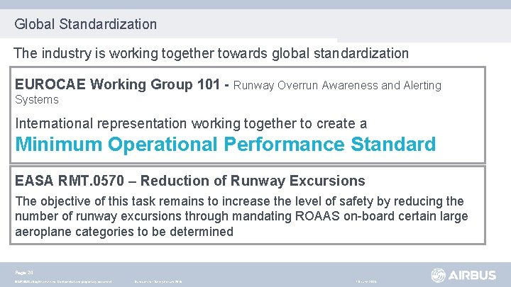 Global Standardization The industry is working together towards global standardization EUROCAE Working Group 101