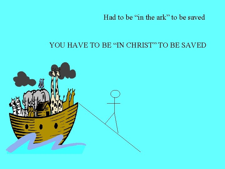 "Had to be ""in the ark"" to be saved YOU HAVE TO BE ""IN"