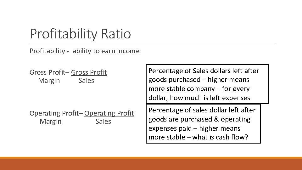 Profitability Ratio Profitability - ability to earn income Gross Profit– Gross Profit Margin Sales
