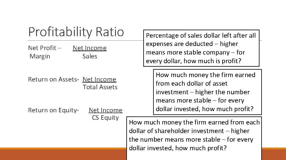 Profitability Ratio Net Profit – Net Income Margin Sales Return on Assets- Net Income