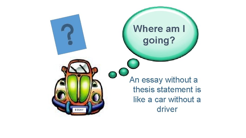 Where am I going? ESSAY An essay without a thesis statement is like a