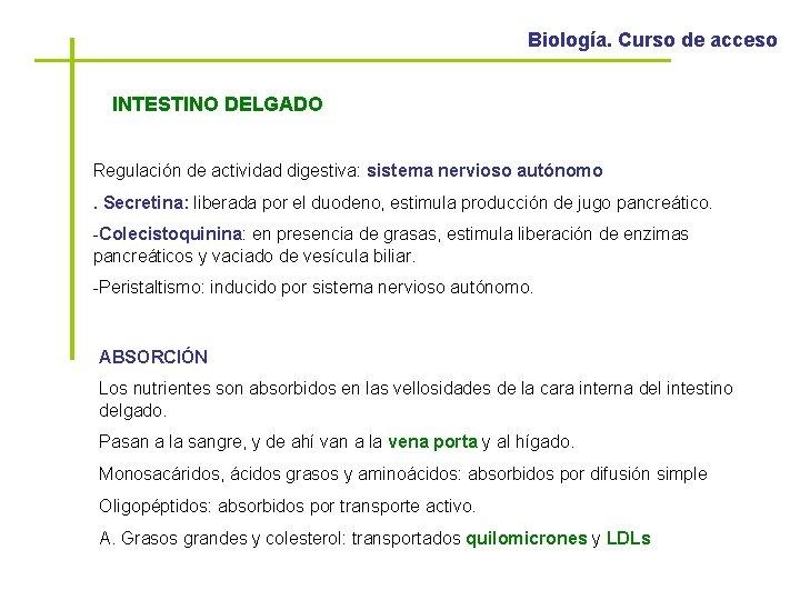 Biología. Curso de acceso INTESTINO DELGADO Regulación de actividad digestiva: sistema nervioso autónomo. Secretina: