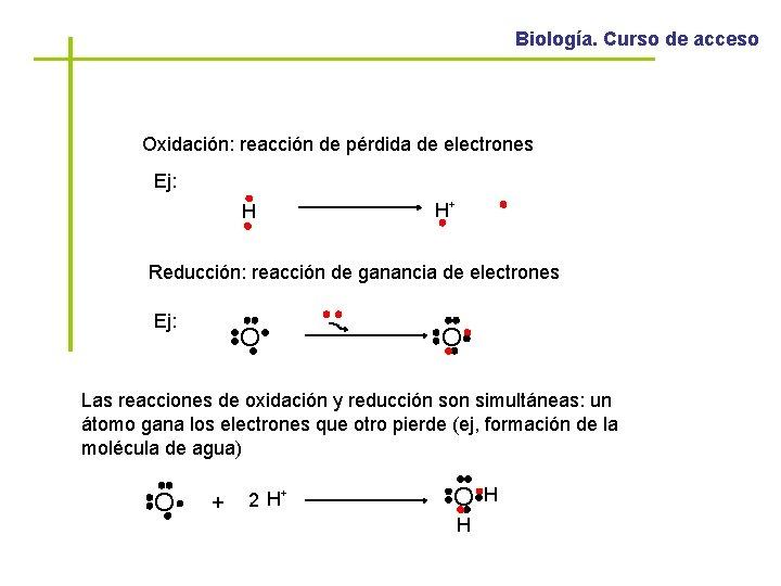 Biología. Curso de acceso Oxidación: reacción de pérdida de electrones Ej: H H+ Reducción: