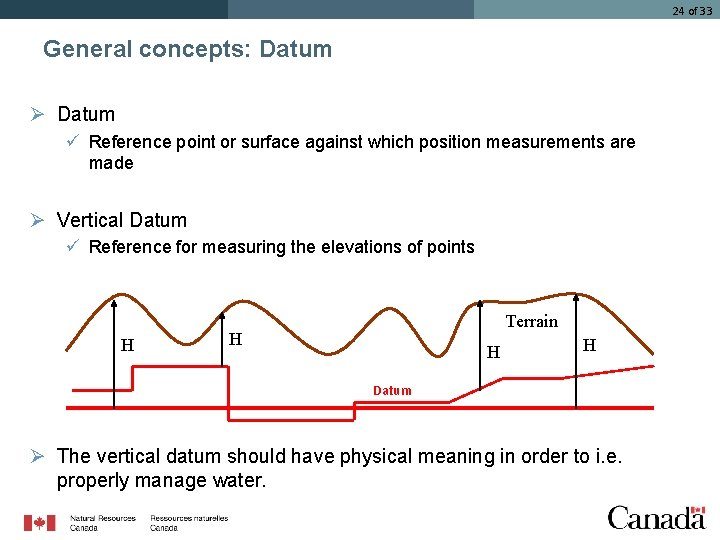 24 of 33 General concepts: Datum Ø Datum ü Reference point or surface against